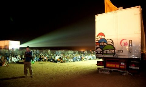 At FiSahara, films are screened at night in the centre of the camp onto a multiplex-sized screen