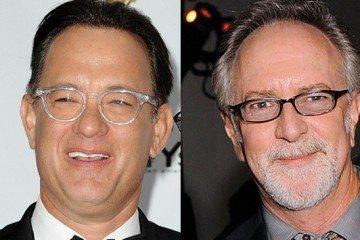 Tom Hanks, (L) and Gary Goetzman hold th