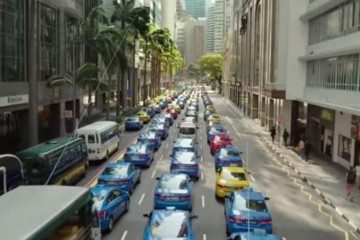 Singapore's iconic blue Comfort taxis are seen in the new trailer of upcoming Hollywood film Hitman: Agent 47. Photo: YouTube